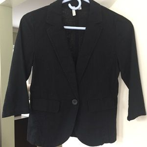 Black 3/4 Sleeve Linen Blazer Jacket